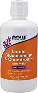 NOW Supplements, Glucosamine & Chondroitin with MSM, Citrus Flavor, Liquid 32-Ounce