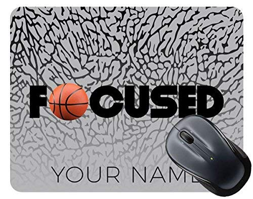 BleuReign(TM) Basketball Personalized Custom Name Focused Square Mouse Pad