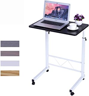 """Home Office Desks, Solid-Top Height Adjustable Wooden Mobile Laptop Desk Cart (25.6"""" to 37"""" H) Ergonomic Table(White/Black/Red/Yellow) (Black)"""