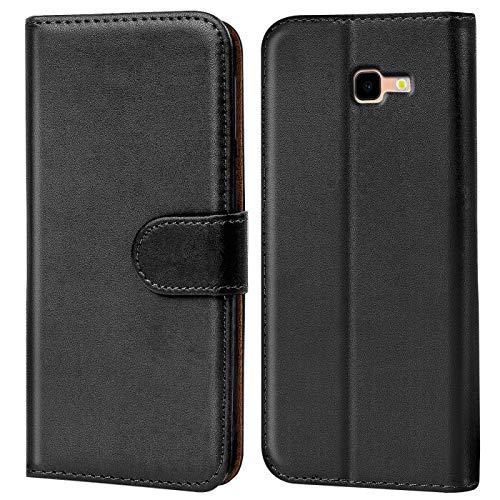 Verco Galaxy J4+ Hülle, Handyhülle für Samsung Galaxy J4 Plus Tasche PU Leder Flip Hülle Brieftasche [6 Zoll] - Schwarz