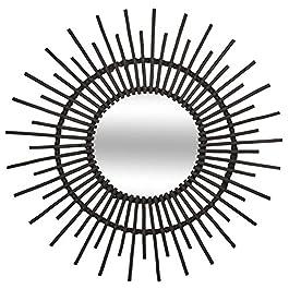 UNIVERS-DECOR Miroir déco rotin Noir diamètre 76 cm Atmosphera