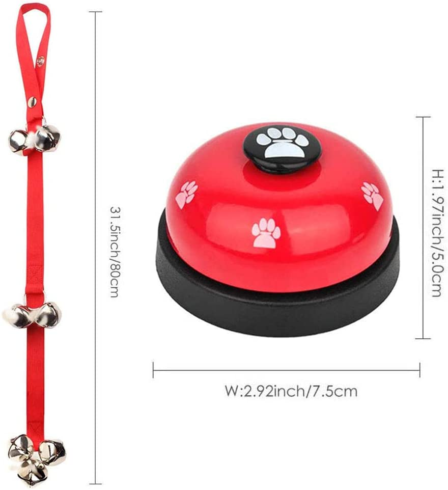 2Pcs Pet Training Bells Metal Bells with Plastic Base for Dog Puppy Cat Potty Training and Communication Device Interactive LFZY Dog Doorbells Red