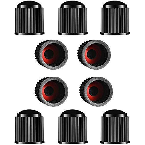 Tapas de Válvula de Neumático, 10 Tapones de Válvula para Neumáticos, de Plástico, para Coche, con Anillo de Sellado, para SUV, Motocicleta, Camiones, Bicicleta, Color Negro