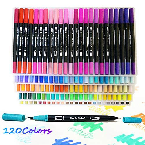 Rotuladores Punta Fina y Punta Pincel de 120 Colores Rotuladores Doble Punta para Adultos Niños Colorear y Dibujar Caligrafía Lettering Bocetos Dibujo