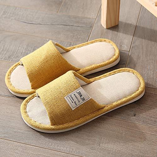 B/H Home Slippers Damen Plastik Schuhe Sandaeln,Vier Jahreszeiten Universal Hausschuhe, Leinen Hausschuhe für Männer und Frauen-gelb_40 / 41,Den Swimmingpool Hausschuhe
