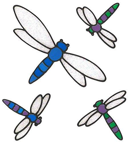 MagicGel Fensterbilder - 4 Libellen (22 x 27 cm), Fensterdeko für das Basteln mit Kindern