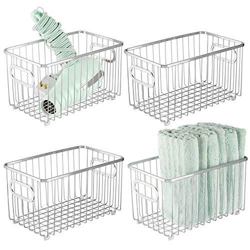 mDesign Juego de 4 cestas de almacenaje en metal con asas integradas – Caja organizadora con atractivo diseño de alambre – Ideal como organizador de baño para cosméticos – plateado