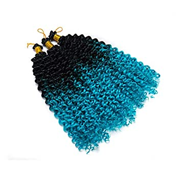 Marlybob Crochet Braids Hair Extensions Synthetic Deep Water Wave Marlibob Hairpiece Afro Jerry Curl Kinky Curly Twist Braiding Weave Hair For Black Women  14  ,Black to Lake Blue