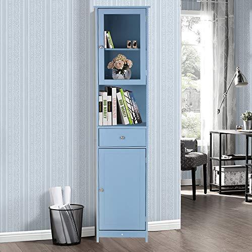 IKAYAA Badezimmerschrank Badschrank Badmöbel Badhochschrank Hochschrank Hochschrank mit Türen amp Schubladen Holzboden Schrank Wohnmöbel Weiß/Blau
