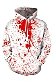 TOLENY Women's Halloween Hoodies Blood Splatter Paint Top Long Sleeve Pullover Sweatshirts White M