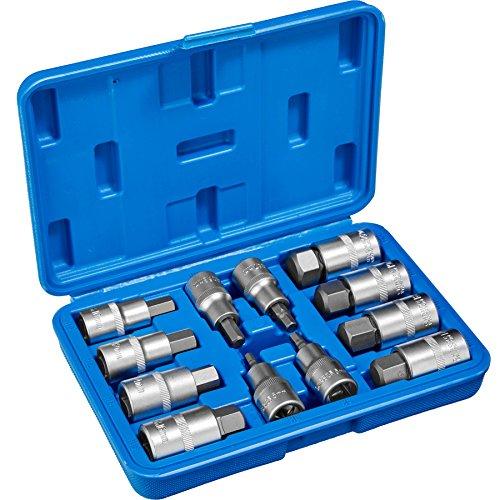 TecTake Innen Inbus Torx Steckschlüsselsatz | Aus Chrom-Vadium-Stahl - diverse Modelle - (Typ 1 | 12-tlg | Nr. 402688)