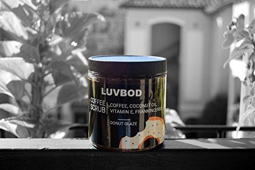LUVBOD Luxury Coffee Scrub - Donut Glaze - w/Scoop - 12oz - Best Arabica Coffee Body Scrub Exfoliator for Cellulite, Acne, Stretch Marks, Eczema. Coconut Oil, Vitamin E, Frankincense