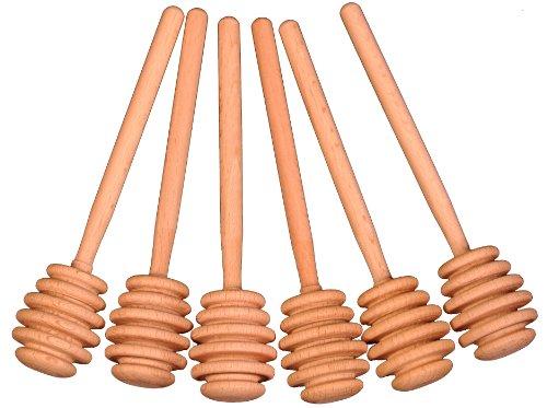 Creative Hobbies 6 Inch Wood Honey Dipper Stick Server for Honey Jar Dispense Drizzle Honey New -Pack of 6