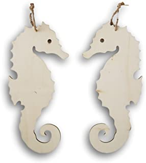 Unfinished Nautical Wood Ornaments - Seahorse Cutout - 2 Count - 11.7 inches