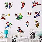 TUWUNA Mario Game Sticker for Mario Birthday Party Supplies Children's Cartoon Bedroom Background Wall Decoration Super Self-Adhesive Wall Sticker Decals