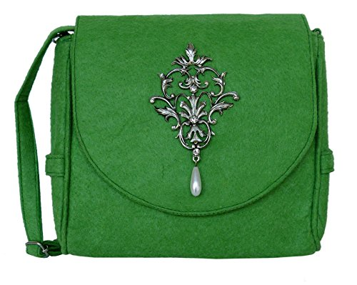 Trachtentasche aus Filz - Dirndltasche mit Antikstil Applikation - Umhängetasche fürs Dirndl (Grün)