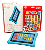 Nabi 2 Tablet Bumper Case with 26 Piece Kinabis Letter Pack Bundle - Educational and Interactive Alphabet Letters with Protective Blue Tablet Case for Kids Ages 3 Plus