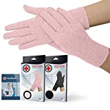 Doctor Developed Full Fingered Arthritis Compression Gloves (Pink) and Doctor Written Handbook - Soft with Mild Compression, for Arthritis, Raynauds Disease & Carpal Tunnel (Medium)