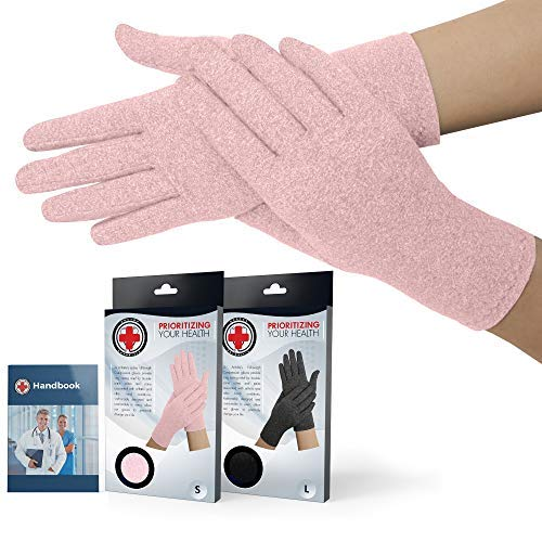 Doctor Developed Full Fingered Arthritis Compression Gloves (Pink) and Doctor Written Handbook - for Arthritis, Raynauds Disease & Carpal Tunnel (One Pair) (Small)