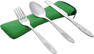 L/öffelgabel f/ür Wanderreisen im Freien wiederverwendbares Geschirr leicht zu reinigen Zeigen Essst/äbchen aus Edelstahl Camping-Besteckset mit Tragetasche