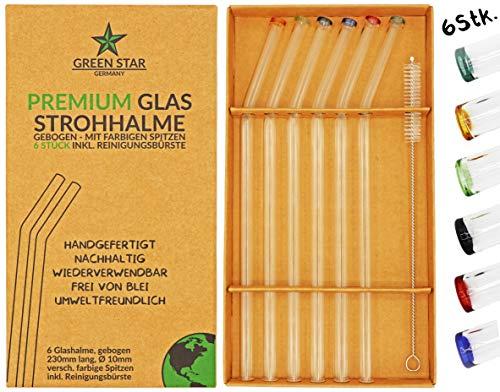 GREEN STAR GERMANY Premium Glas Strohhalme 6 Stück wiederverwendbar + Reinigungsbürste - handgefertigt, Bunte Spitzen, gebogen, 23 cm, spülmaschinenfest - Trinkhalm Set bunt für Cocktail, Smoothie