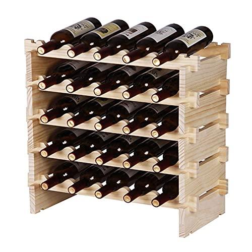 ZHBH Estante para Copas de Vino Colgante Estante para Vino de Madera apilable Soporte para Botellas de pie, fácil instalación, para Cocina, Bar, Bodega, Sala de Almacenamiento