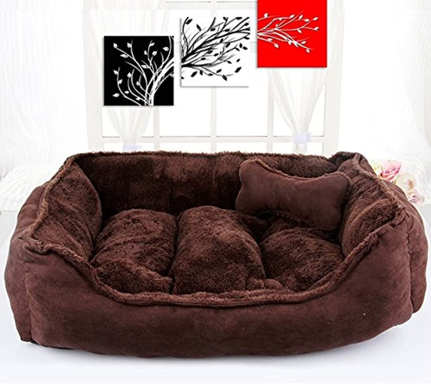 NYDZDM Kennel Four Seasons Universal Removable Washable Poodle Nest Small and Medium Dog Bed Cat Litter Mat Pet Supplies (color  Deep Coffee) Bones (Size   S)