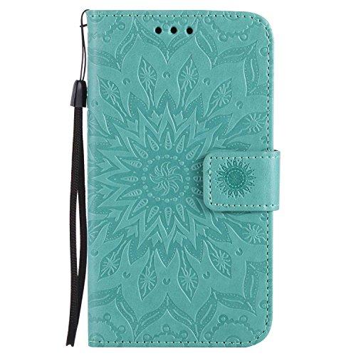 LAFCH Handyhülle für Galaxy J5 2015 Hülle, Premium Mandala Geprägtes Muster PU Leder Flip Schutzhülle für Samsung Galaxy J5 2015, mit Karteneinschub, Grün