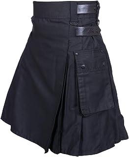 Men's Black Leather Straps Utility Kilts