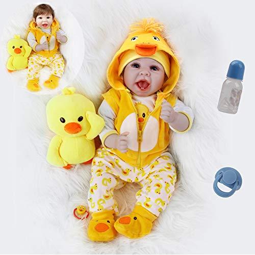 ZIYIUI Muñeca Bebé Reborn 22 Pulgadas 55cm Silicona Suave Vinilo Reales Bebes Reborn Niño Realista Recién Nacido Boca Magnética Juguetes de los niños