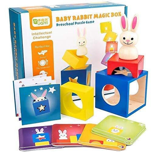 Holz-Puzzle-Spiel for Sortier- und Stapel Spiele mit 60 Karten, Montessori Spielzeug for Kinder, Early Learning Lernspielzeug Geschenke for Kleinkinder Kinder Jungen Mädchen im Alter von 3 + Jahre alt