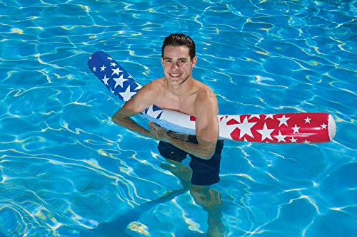 Poolmaster 81729 American Stars Inflatable Swimming Pool Noodle, 60 Inch, Red, White and Blue