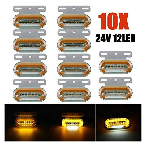 GZA 10 Unids 24V 12 LED Carro De Coche Luces Luces Luces Automóvil Luces Externas Indicador De Señal Lámpara Advertencia Luz De Cola 3 Modos Trailer Lorry