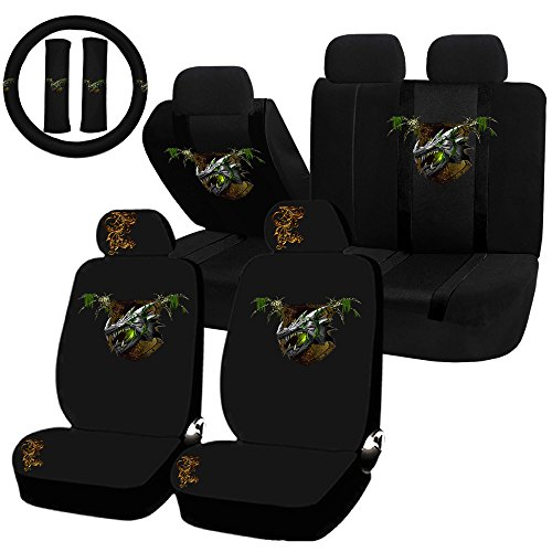 UAA 22pc Earth Dragon Green Nature Element Universal Seat Cover Steering Set