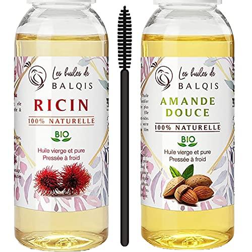 2x50 ml Huile de Ricin bio & Huile d'Amande Douce vierge 100% pure naturelle pressée à froid nourrit la peau, pousse des cheveux barbe cils sourcils ongles riche en oméga 9 vitamine E