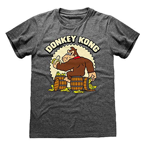 * NEW * Ladies Official Donkey Kong Bananas T-shirt, Heather Grey, S to XXL