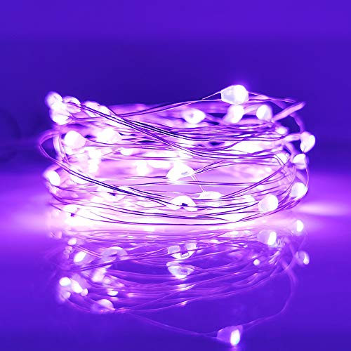 [10-Pack] LED String Lights, 6.6FT LED Moon Lights 20 Led Micro Lights On Silver Copper Wire (Batteries Include) for DIY Wedding Centerpiece, Table Decoration, Party (Purple)