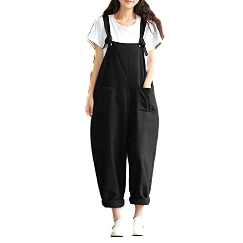 7481a434e15d Helisopus Women s Plus Size Linen Overalls Baggy Adjustable Strap  Sleeveless Jumpsuits Casual Loose Wide Leg Dungarees