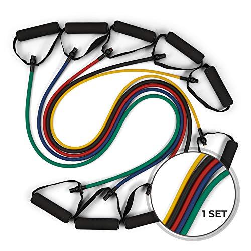 Fitnessband Fitnessbänder Expander 5er Set 4,5kg-13,7kg - inklusive Trainingsguide und tragbarer Tasche hochwertige Schaumstoff Griffe 1.2m lang Widerstandsbänder Resistance Bands Gymnastikband