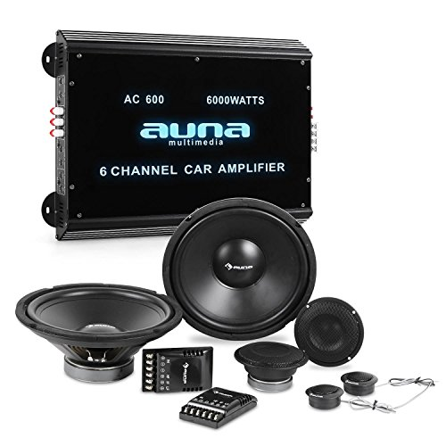 Auna CS-Comp-12 Set Impianto Audio Macchina Car HiFi 8000 Watt (Amplificatore 6 Canali, Crossover, 2 Subwoofer, 4 Casse Altoparlanti)
