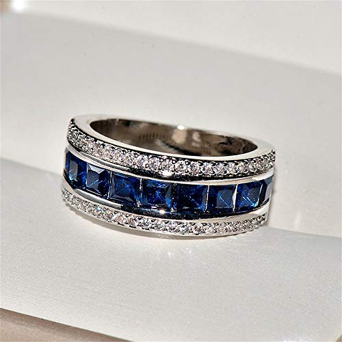 TZ.1 Fashion 18K Gold Plated Natural Sapphire Ring Square Cubic Zirconia Promise Rings CZ Classical Full Diamond Ring Eternity Engagement Wedding Band Ring for Women (US Code 8)