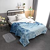 YEHO Art Gallery Full Size Quilted Comforter Lightwight Thin Bedding Comforter Duvet Insert for Bed Sofa Couch,White Wolf in The Snow Animal Pattern Summer Comforter,82x85in(208x218cm)