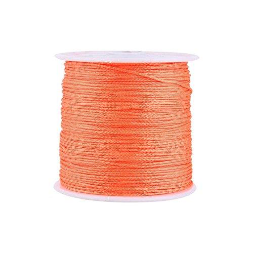 Haofy Cuerda de Nylon Cordón de Nylon Cuerda Trenzada Cuerda de Nudo Chino Cola de Ratón Macramé para Pulsera Collar Joyas DIY 100M x 0.8mm (Naranja)