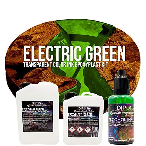 EpoxyPlast 100 P Electric Green Alcohol Ink Kit Set - Epoxidharz Transparent gefärbt für Holz Tisch Metal Beton Gießen Bodenbeschichtung Garage Laminierharz Epoxydharz Farb Effekt Gießharz
