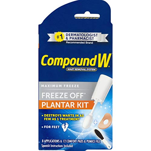 Compound W Freeze Off Wart Removal System | Maximum Freeze off for Plantar| 8 application and 8 cushion pads