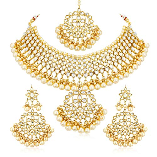 Sukkhi Trendy Kundan Gold Plated Wedding Jewellery Pearl Choker Necklace Set for...