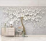 Papier Peint 3D Mur De Fond Tv Belle Fleur Blanche En Relief Le Salon Chambre Moderne Papier...