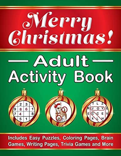 Merry Christmas Adult Activity Book Includes Easy Puzzles Coloring Pages Brain Games Writing product image
