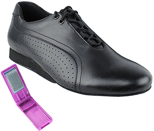 Very Fine Dance Shoes - Mens Latin, Rhythm Ballroom Dance Shoes for Men - SERO101BBX - Flat Heel and Foldable Brush Bundle - Black Leather - 9