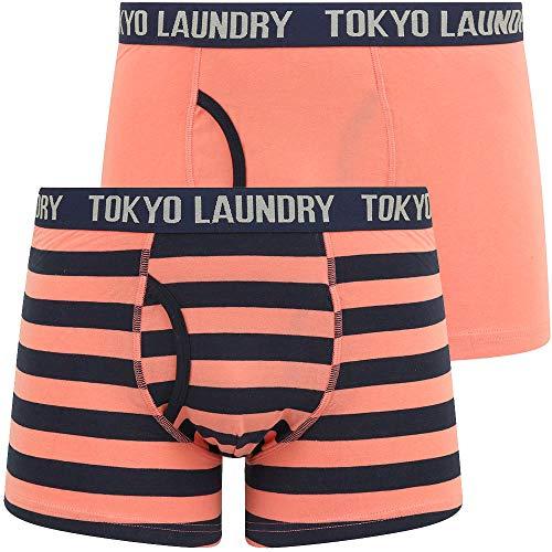 Alcott (2 Pack) Striped Boxer Shorts Set in Peach Blossom / Navy Blazer – Tokyo Laundry - L
